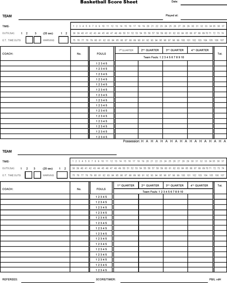 Printable Basketball Score PaperBasketballPrintable Coloring