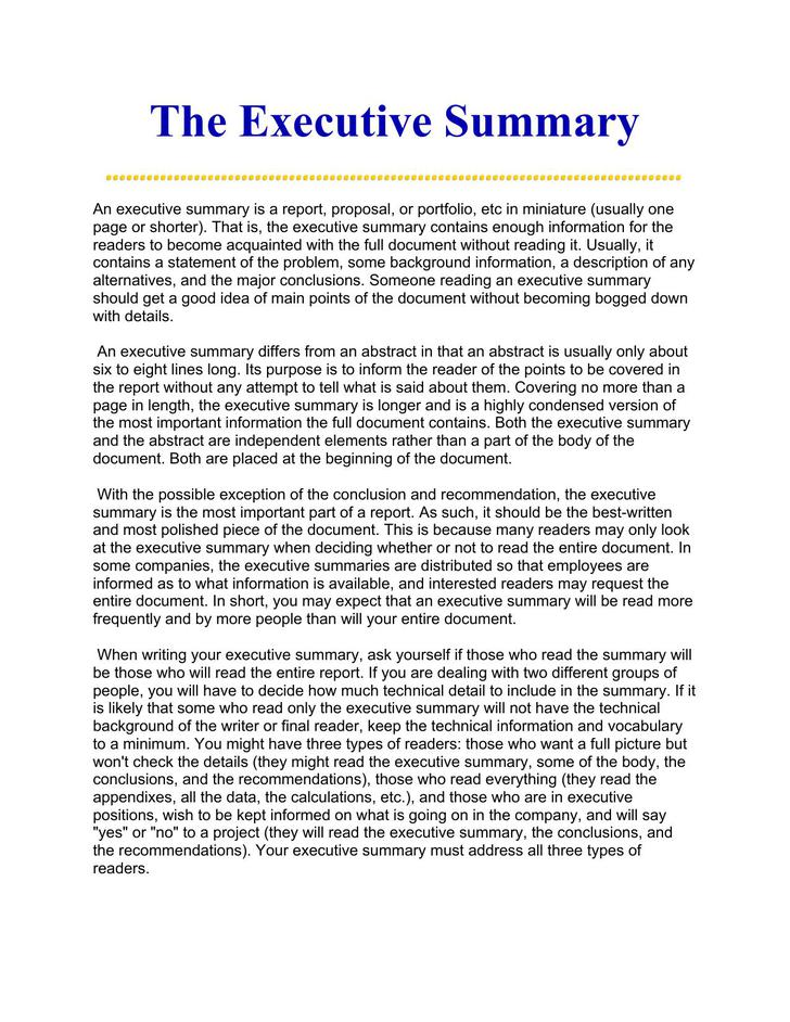 Printable Best Executive Summary Ever Doc Download