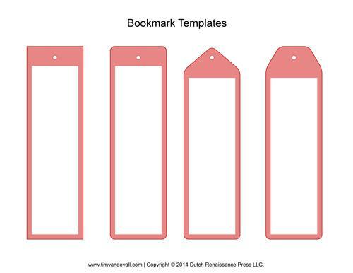 Printable Blank Bookmark Template PDF Format Download