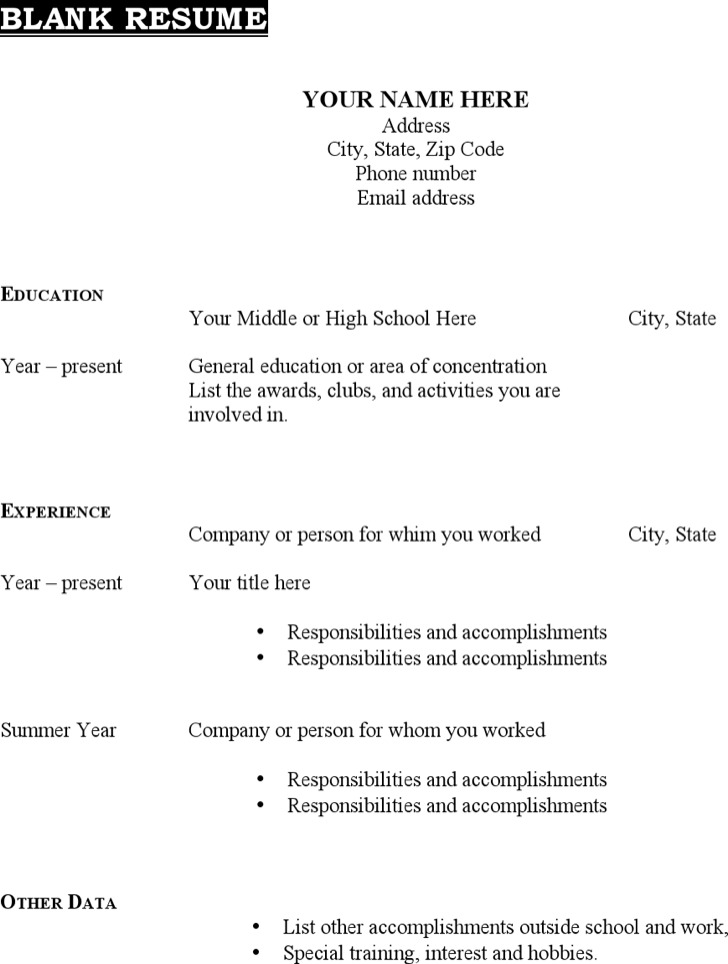 Blank Resume Templates Blank Resume Template Word Resume Templates