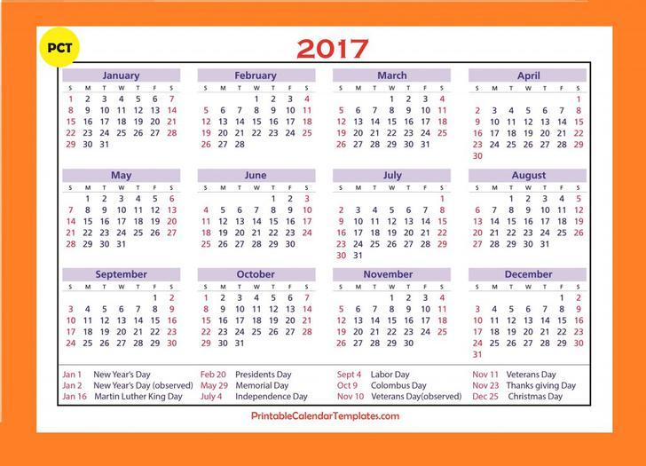 Printable Calendar 2017