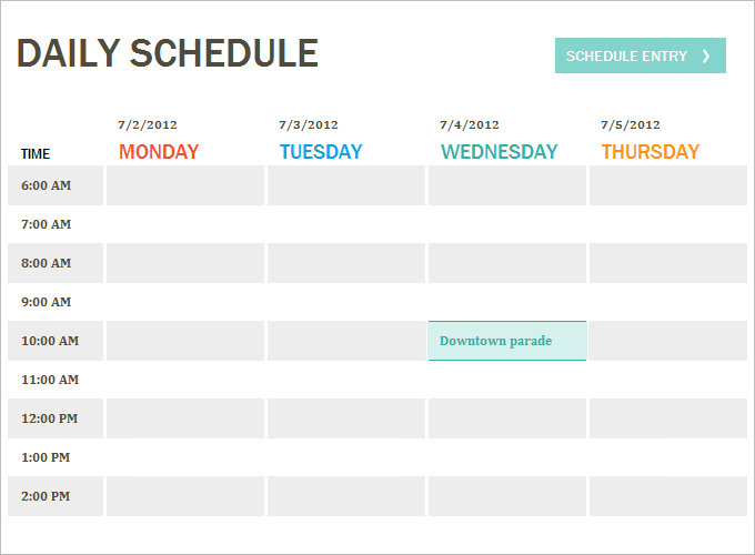 Sample Daily Itinerary Templates to Organize your Daily Schedule – Sample Schedule Template