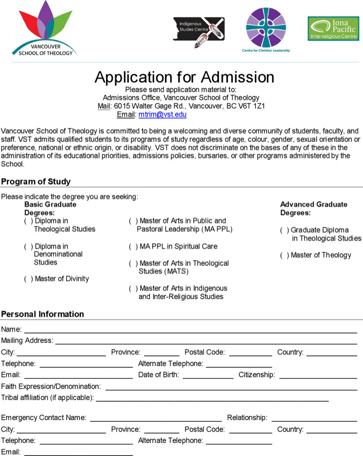 Printable Diploma School Application For Admission
