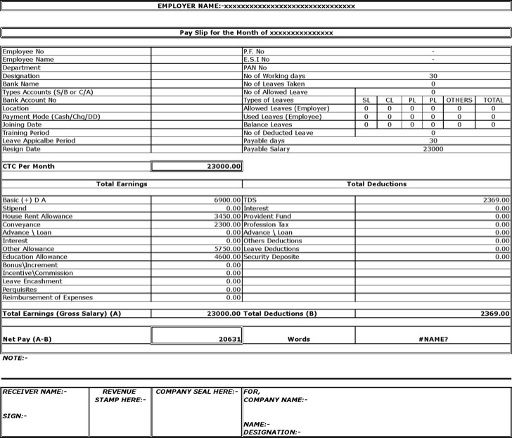 7 Payslip Templates Excel Pdf Formats Slip Template Salary – Format of a Payslip