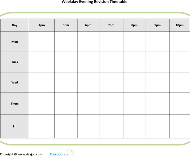 Timetable Templates  Download Free  Premium Templates Forms
