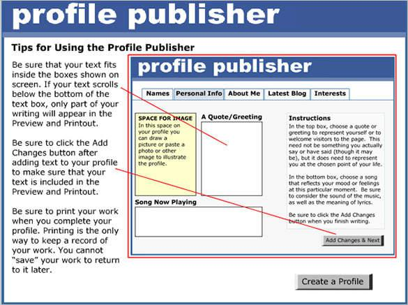 Printable Facebook Template for Students
