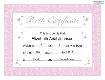 Printable Free Birth Certificate Template