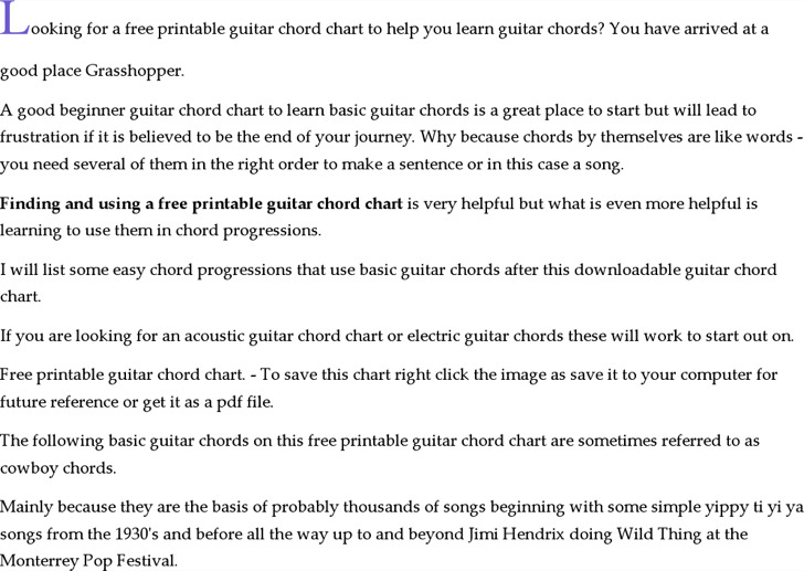 Printable Guitar Chord Chart Template