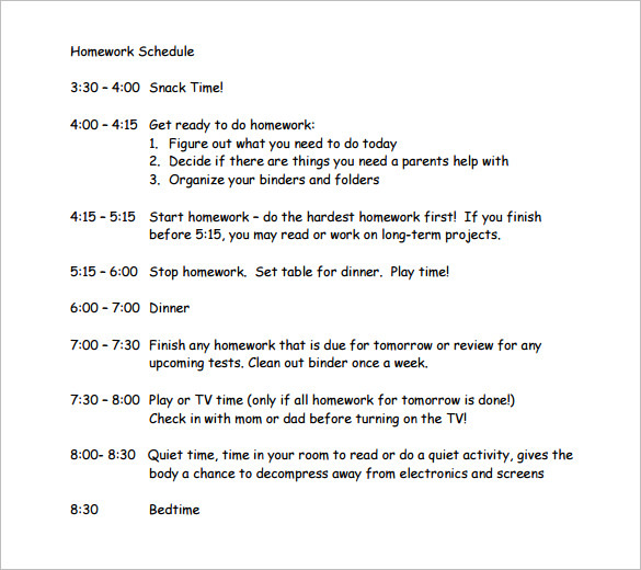 Printable Hourly Homework Schedule Template in PDF
