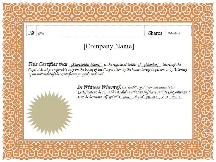 Stock certificate template download free premium for Share certificate template alberta