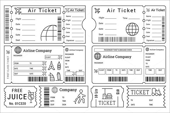 Printable Ticket Templates for Cinema, Zoopark, Airline