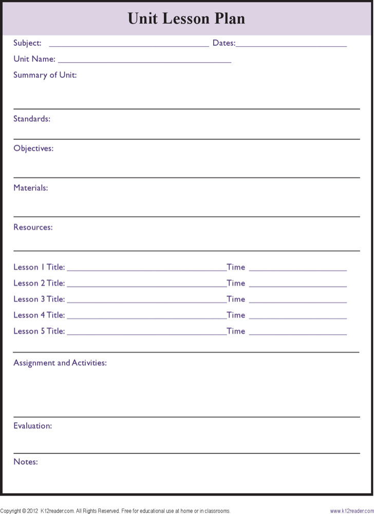 Printable Lesson Plan Templates Download Free Premium - Free printable lesson plan template blank