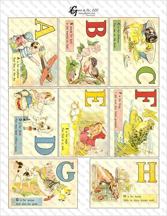 Printable Vintage School Flash Card Template