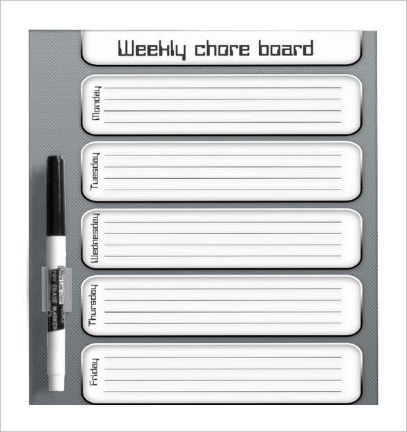 Printable Weekly Chore Board Template