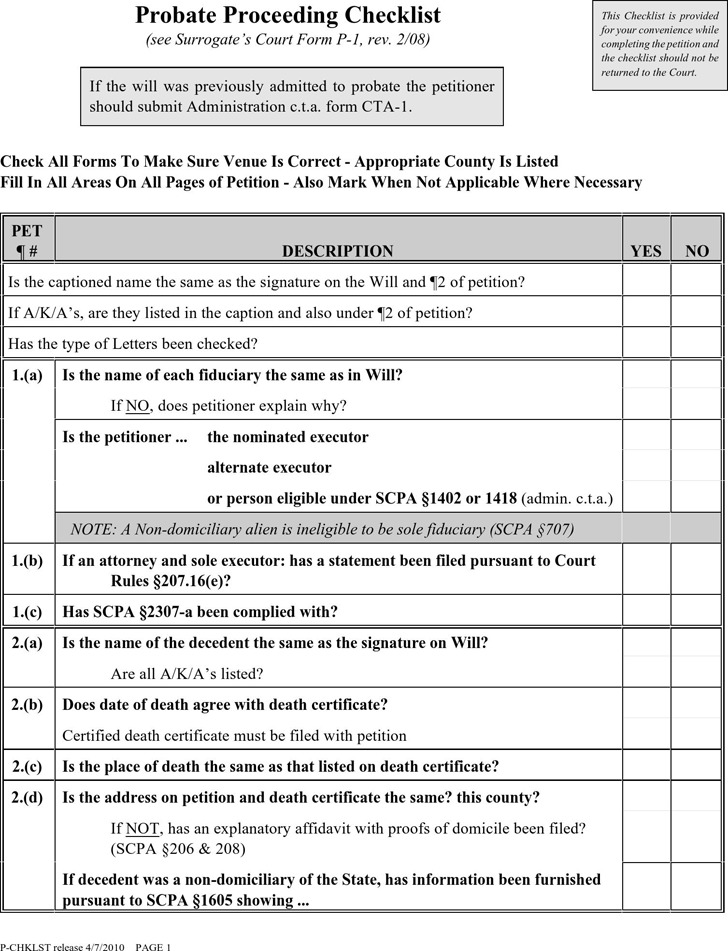 Probate Proceeding Checklist