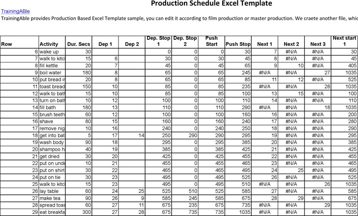 Shooting Schedule Template Event Production Schedule Template