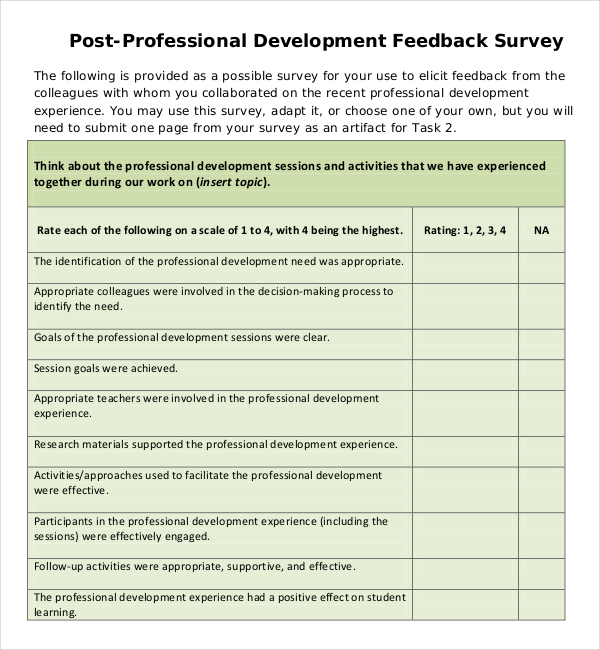Professional Development Feedback Survey PDF Template