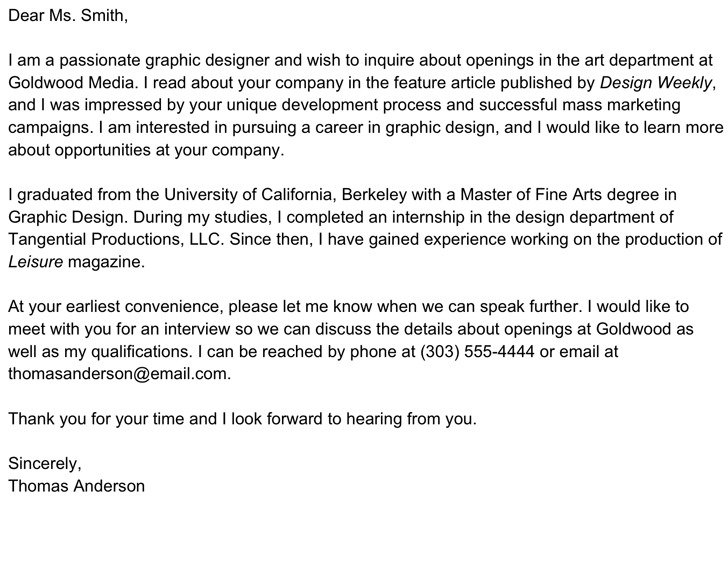 Professional Interest Letter