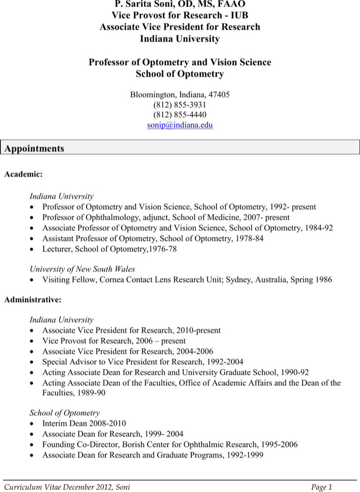 Professional Optometrist Resume