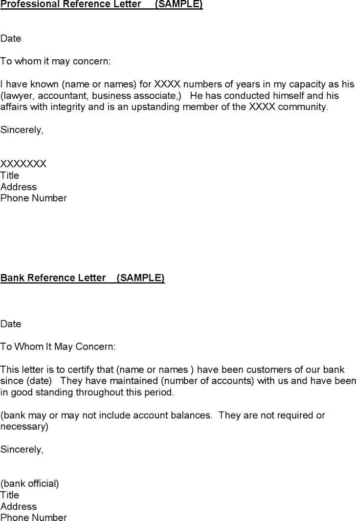 Doc16491749 Reference Letter for Bank Sample Bank Reference – Bank Reference Letter Sample