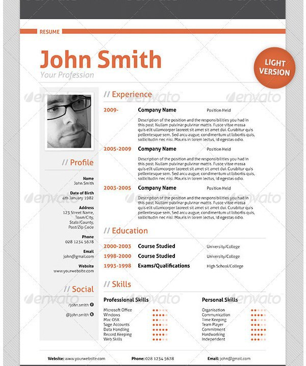 Professional Resume CV Template1