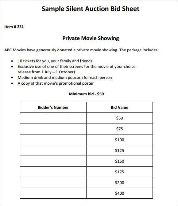Professional Silent Auction Bid Sheet Template