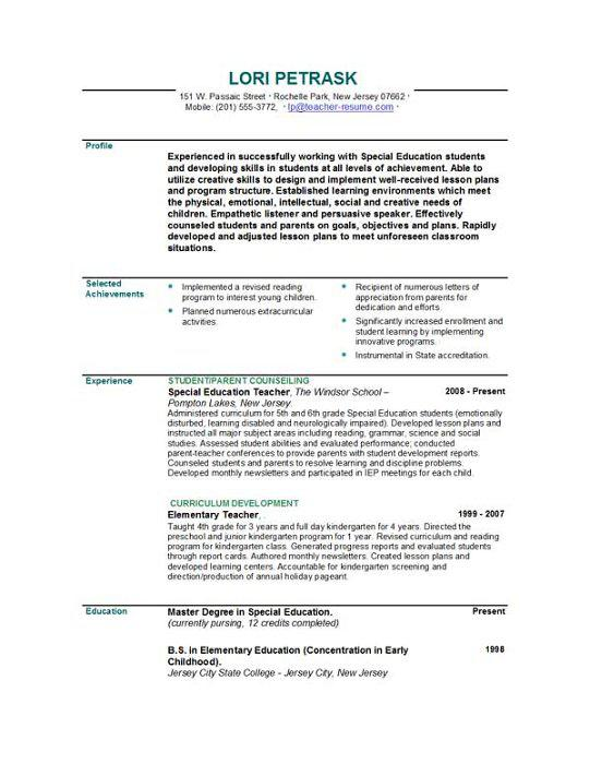 Professional Teacher Resume Template PDF Printable Download  Professional Teaching Resume