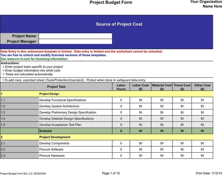 Project Budget Template  Download Free  Premium Templates Forms