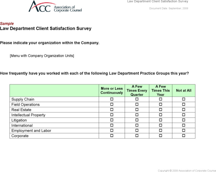 Project Client Satisfaction Survey Template
