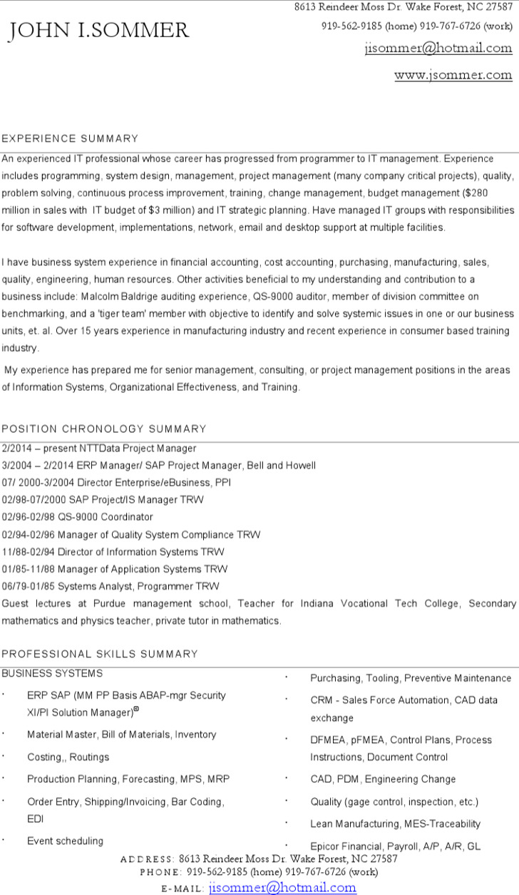 Project Manager Resume For Sap Word