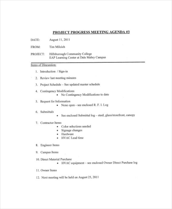 Project Progress Meeting Agenda