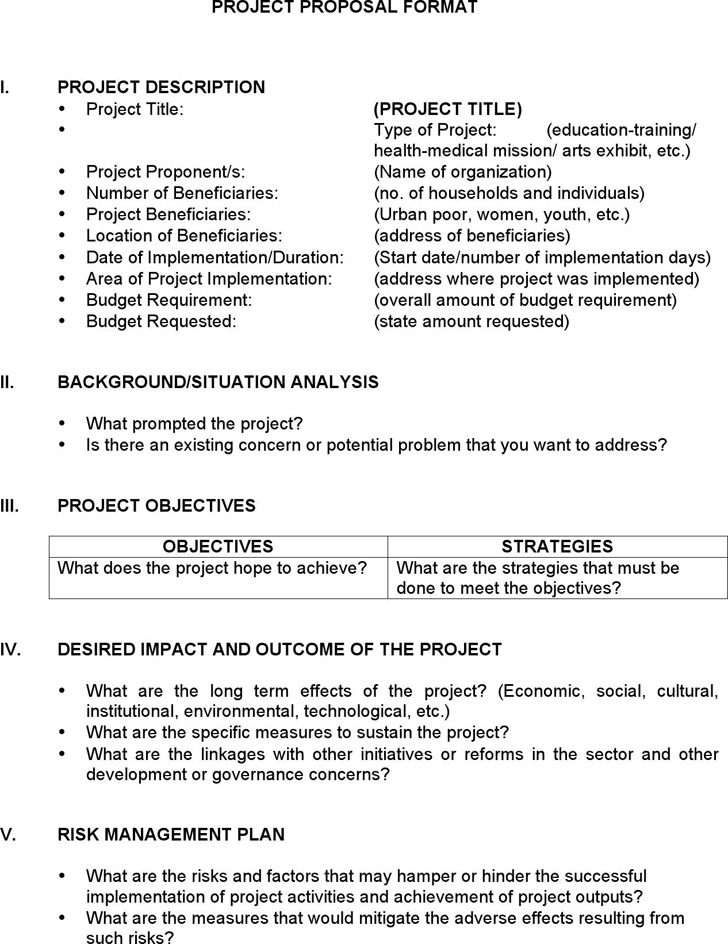 Project Proposal Format Project Proposal Format Template Project