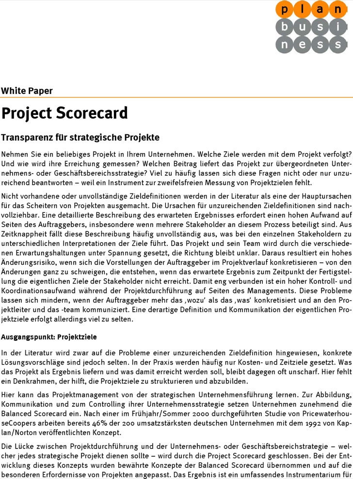 project scorecard template