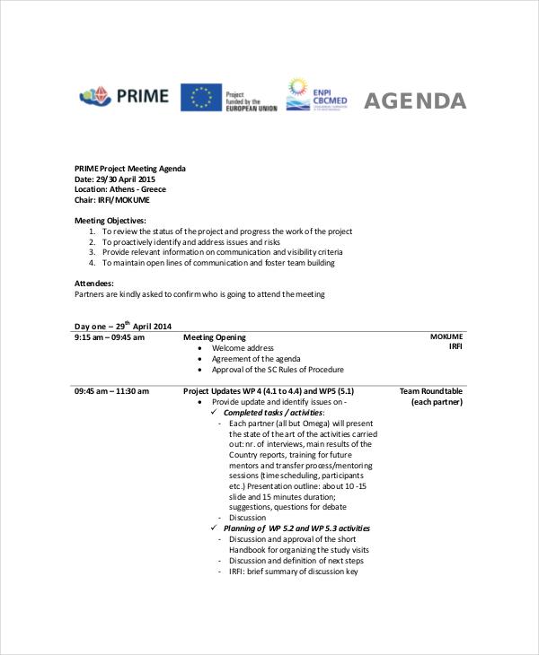 Project Status Meeting Agenda