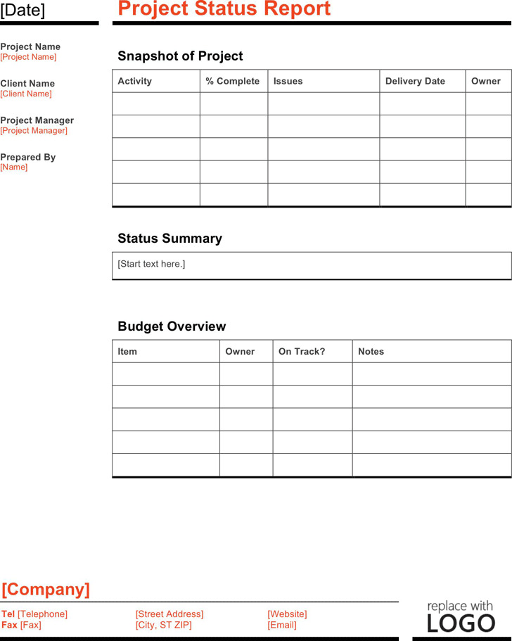 Status Report Template. 7+ Weekly Status Report Templates - Word