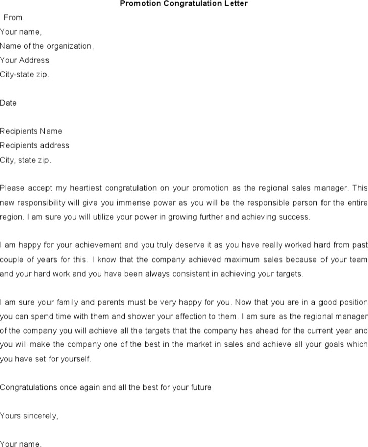 Promotion Congratulations Letter Template