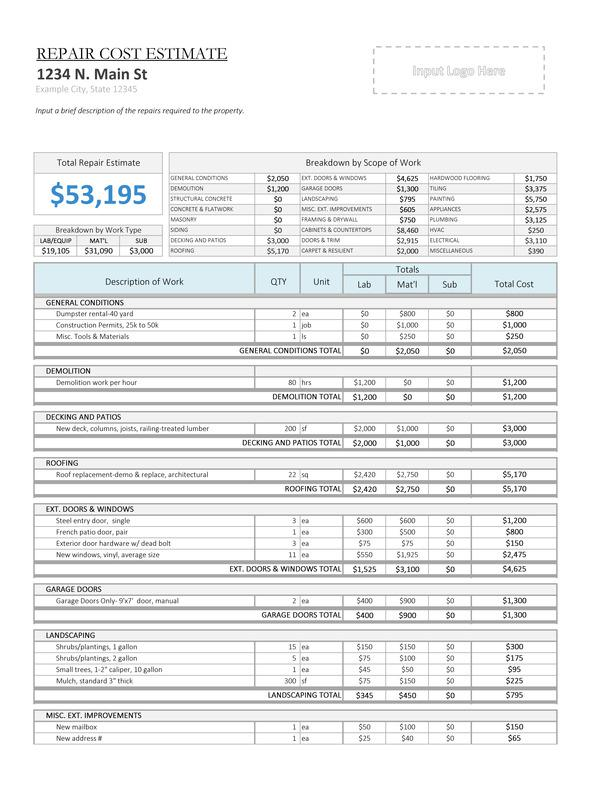 Property Repair Estimate Sheet