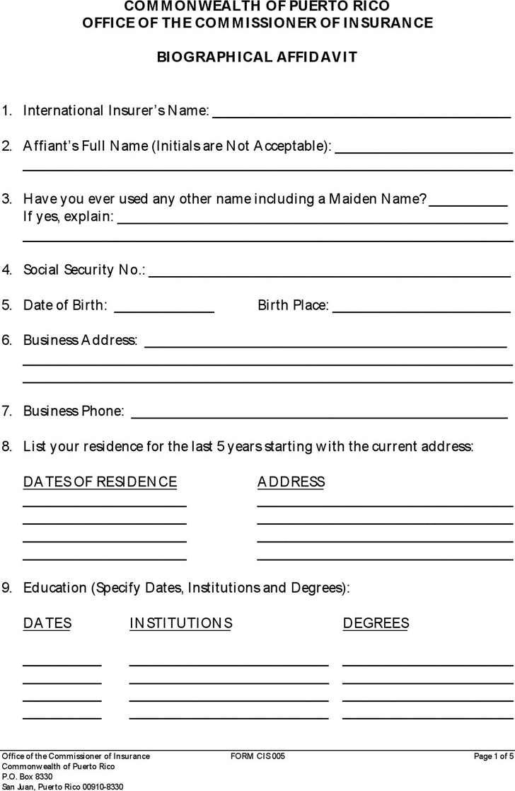 Puerto Rico Biographical Affidavit Form