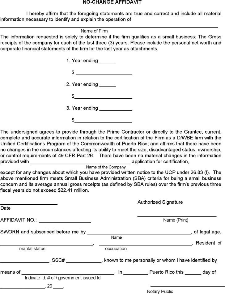Puerto Rico No-Change Affidavit Form