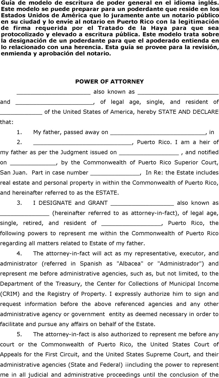 Puerto Rico Power of Attorney