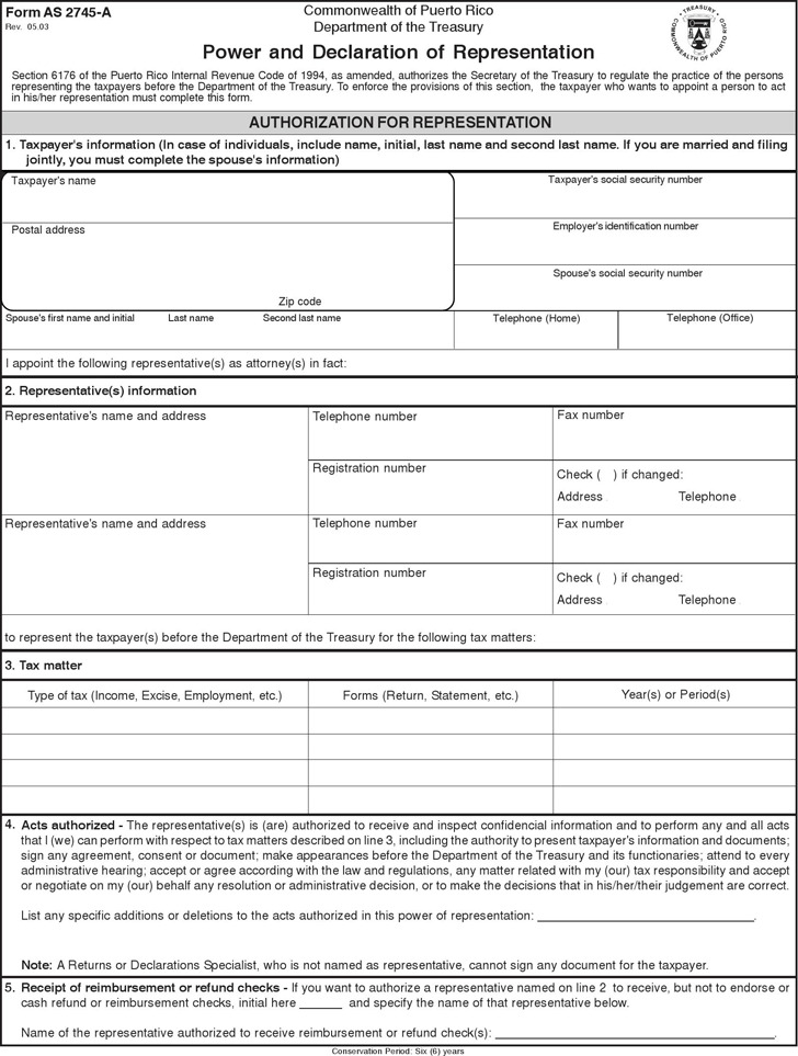 Puerto Rico Tax Power of Attorney Form