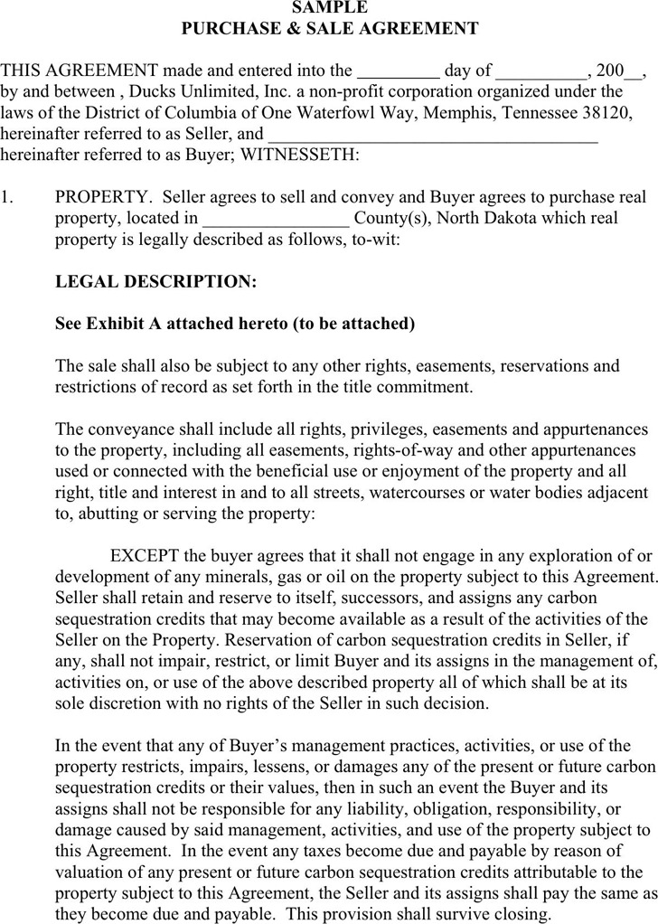 Sample Purchase and Sale Agreement