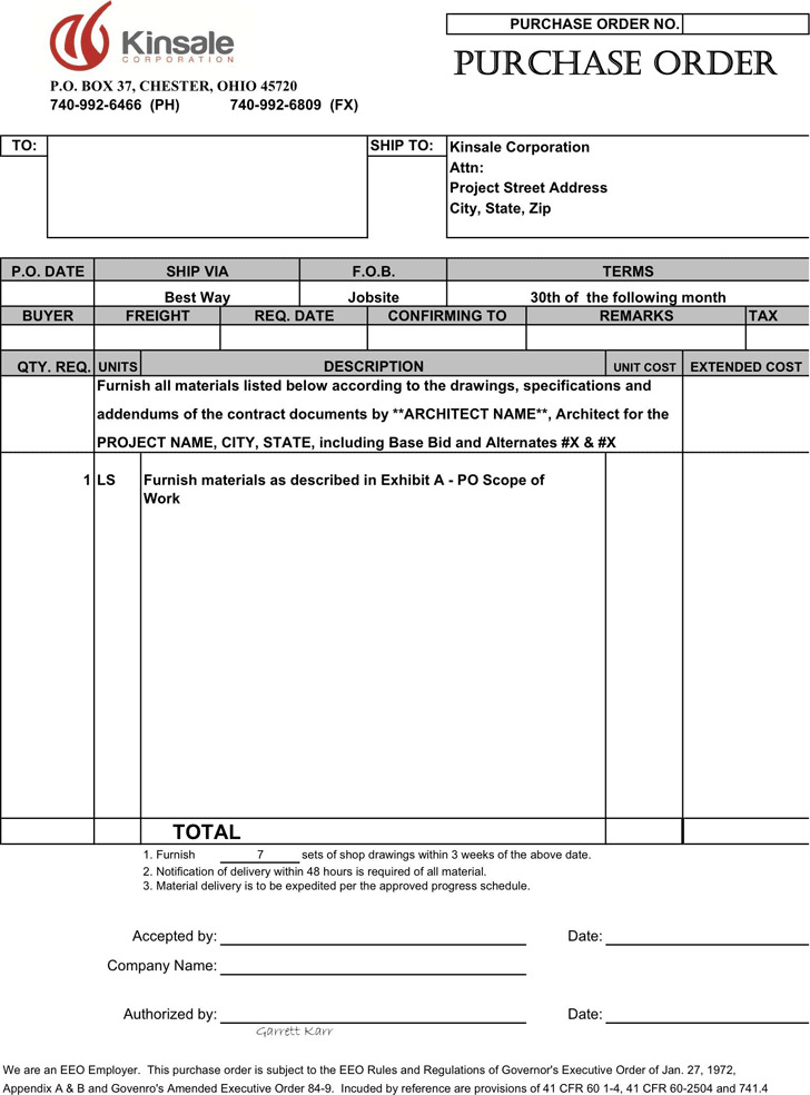 Purchase Order Template  Purchase Order Format Download