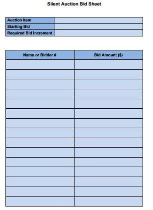 Quail Forever Silent Auction Bid Sheet Template