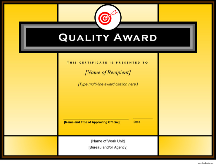 Quality Award Printable Certificate Download