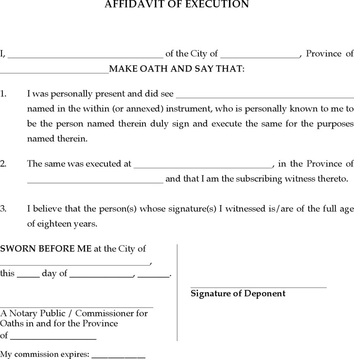 Quebec Affidavit of Execution Form