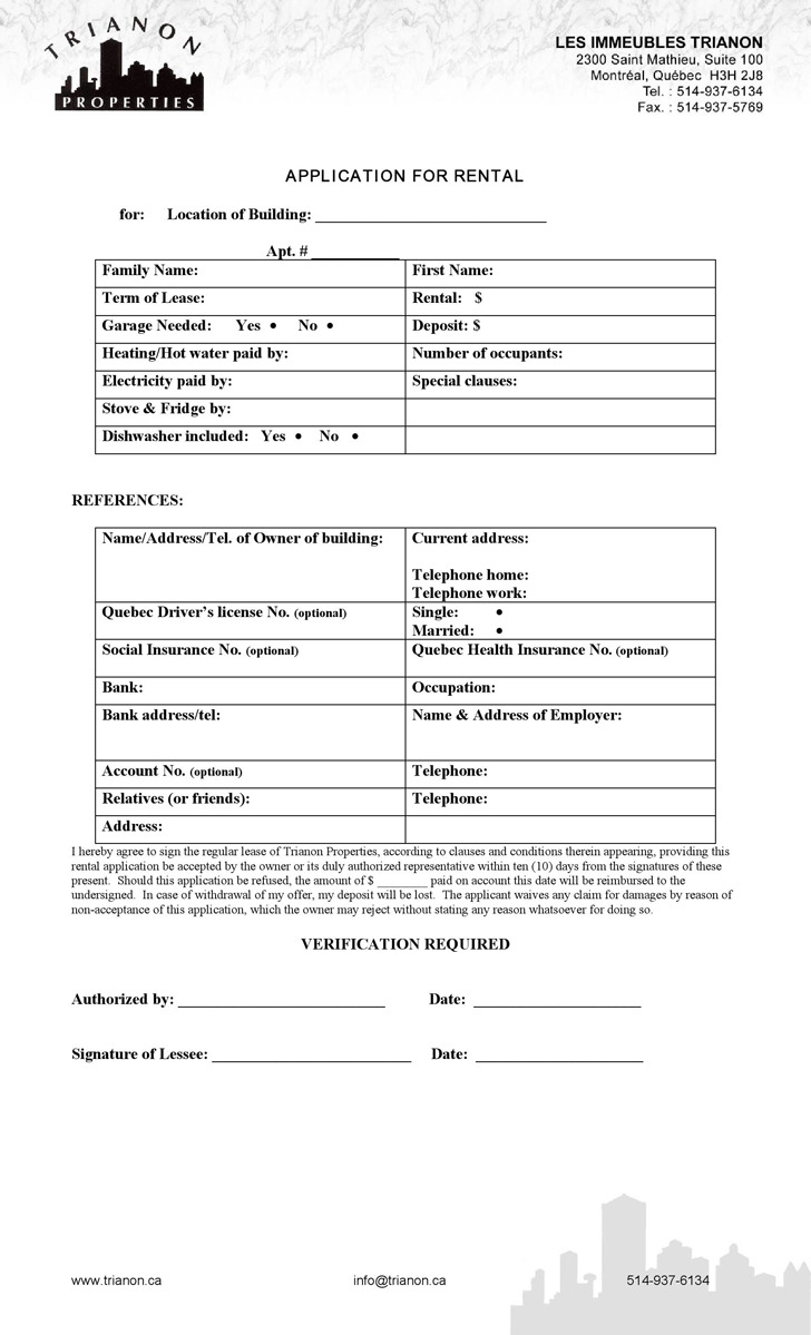Quebec Application for Rental Form