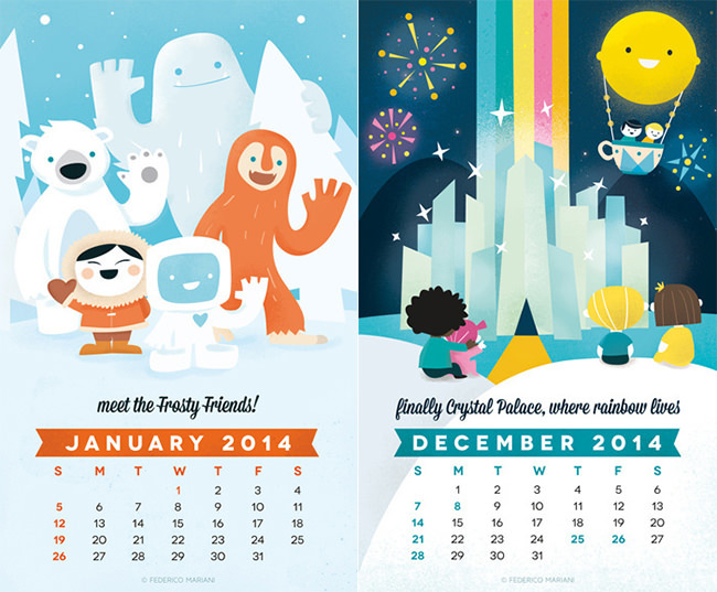 Rainbow Land Kids Calendar Template