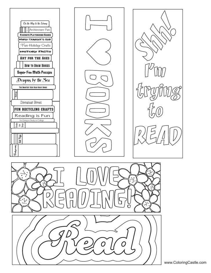 Reading Coloring Bookmark Template Free