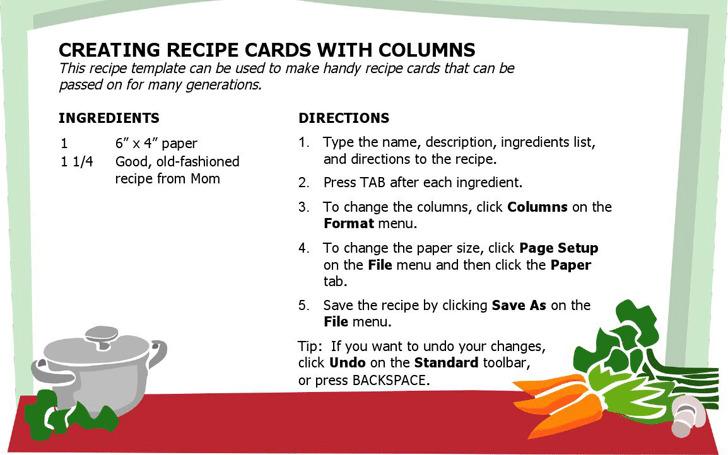 Recipe Card (Multiple Columns)